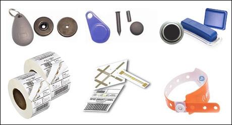 etichette, tag e braccialetti rfid di varie dimensioni e materiali (carta, pvc, ecc.)