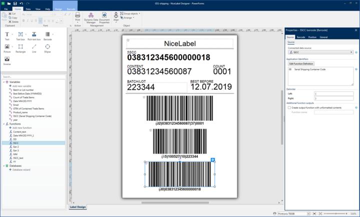 creazione etichetta, gestione layout e form (contenuti interni, immagini, codici, campi variabili, ecc.) gestione della stampa con collegamento a qualsiasi stampante